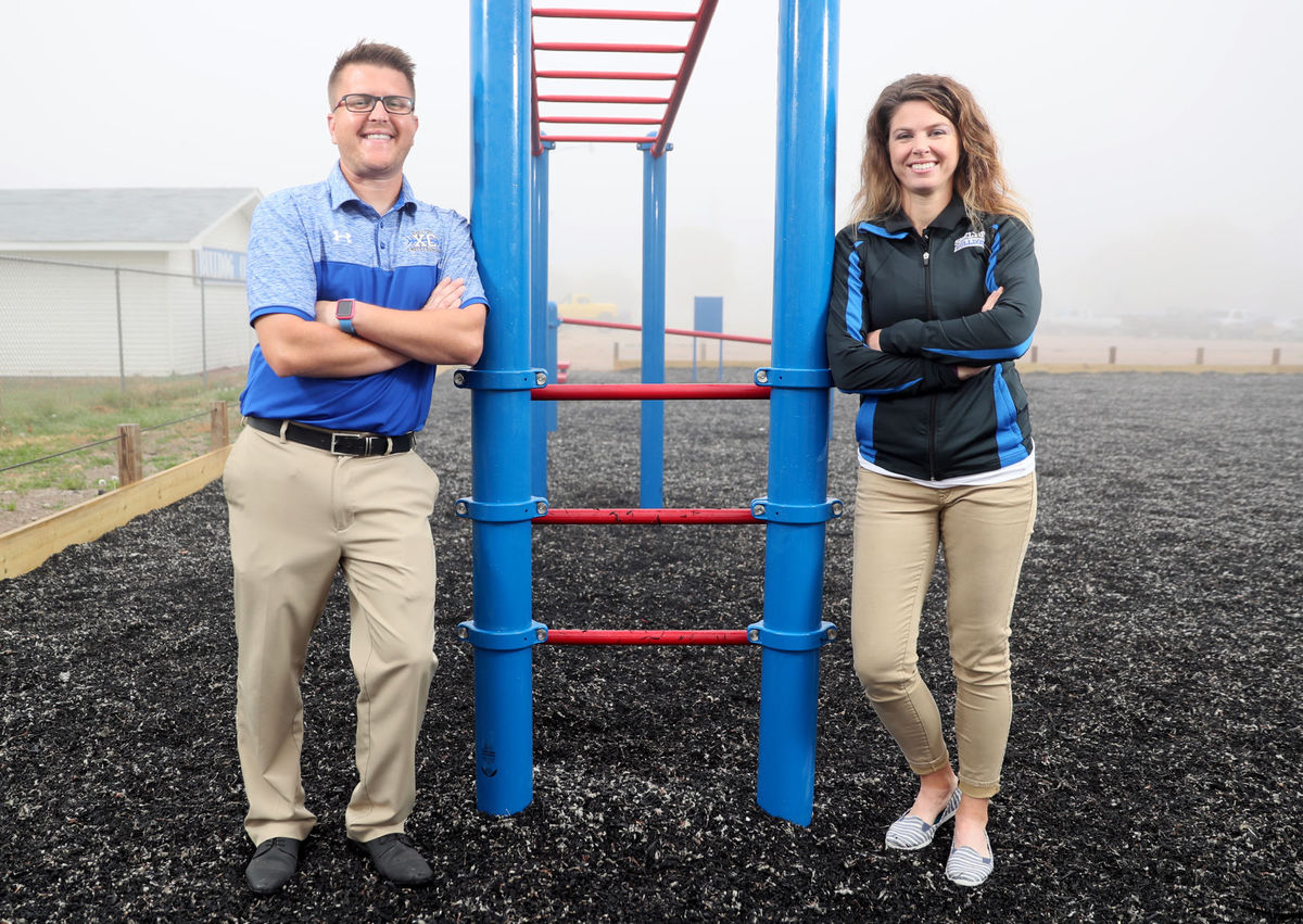 Shelton Public Schools physical education teachers Matthew Walter and Amanda Thober