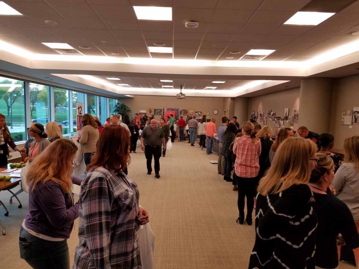 Long lines at Blue Cross Health and Safety Fair to learn more about wellness
