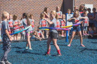 Girls hoola hooping