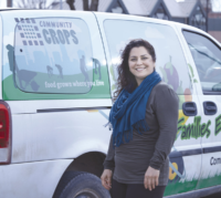 Lamya Ali with Community Crops mobile farmers market van