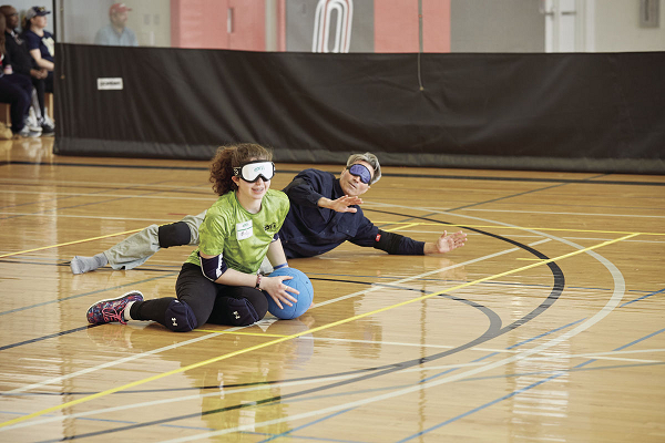 Molly Troxel playing goalball with opponent