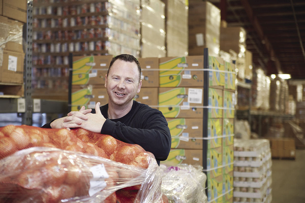 Tim Smiley in Food Bank for the Heartland warehouse