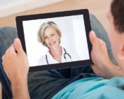 Telemedicine doctor visit on a tablet from home