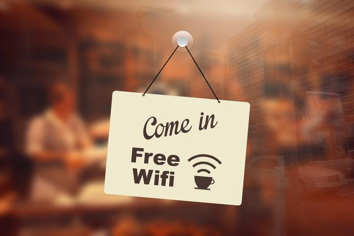 Free wifi sign in coffee shop window