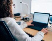 Employee using laptop